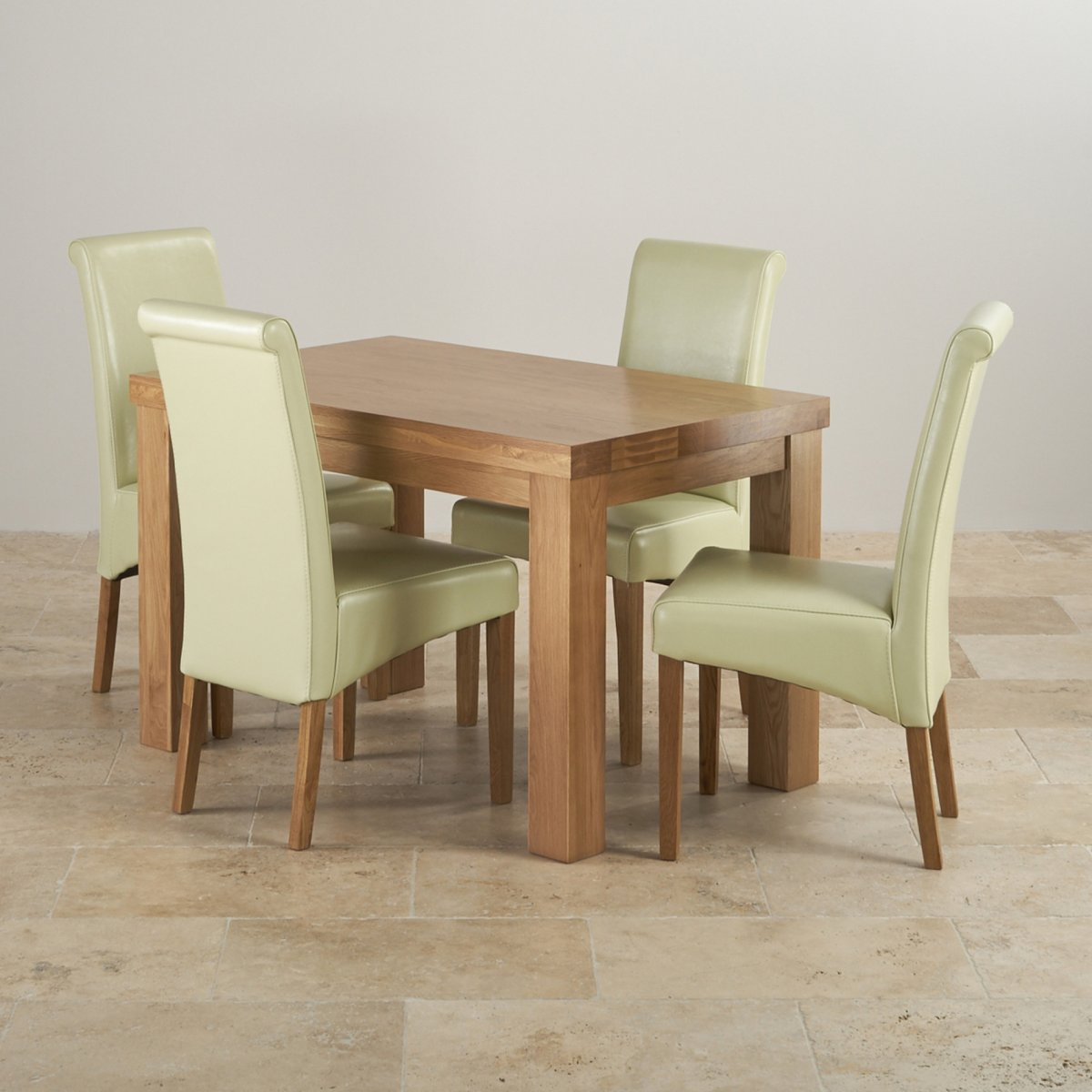 Chunky ft solid oak dining table cream leather scroll