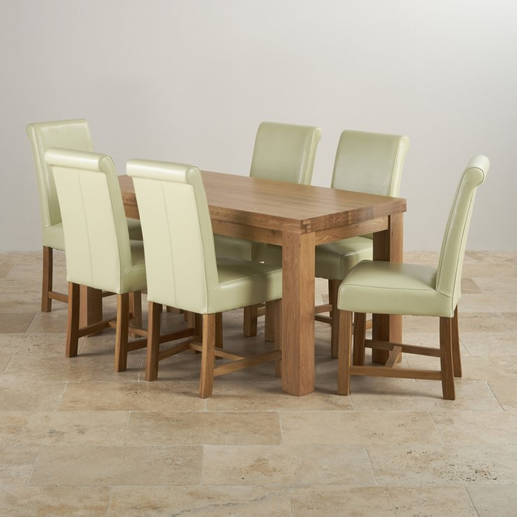 Contemporary Chunky Natural Oak Dining Set - 5ft Table with 6 Braced Scroll Back Cream Leather Chairs