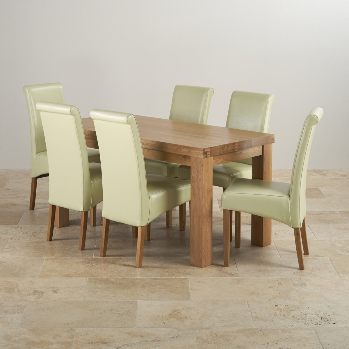 Chunky dining set in oak dining table 6 cream leather for Contemporary oak dining chairs
