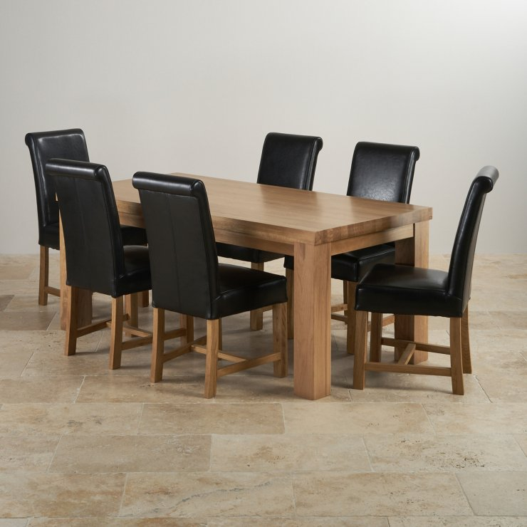 Contemporary Chunky Natural Real Oak 6ft Table with 6 Braced Scroll Back Black Leather Chairs