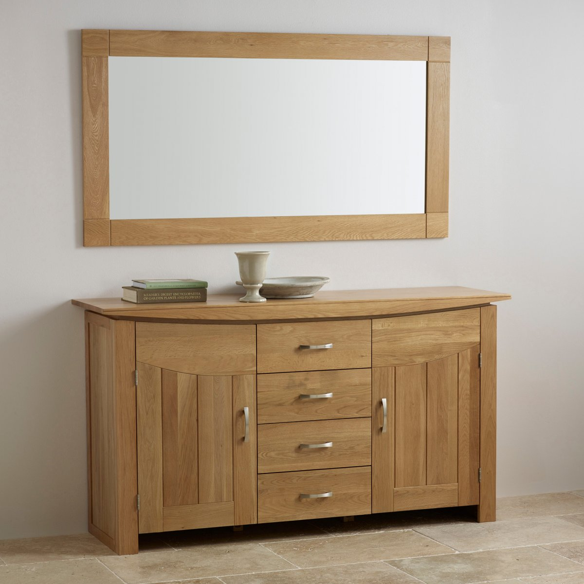Contemporary natural solid oak wall mirror by oak for Oak furniture land