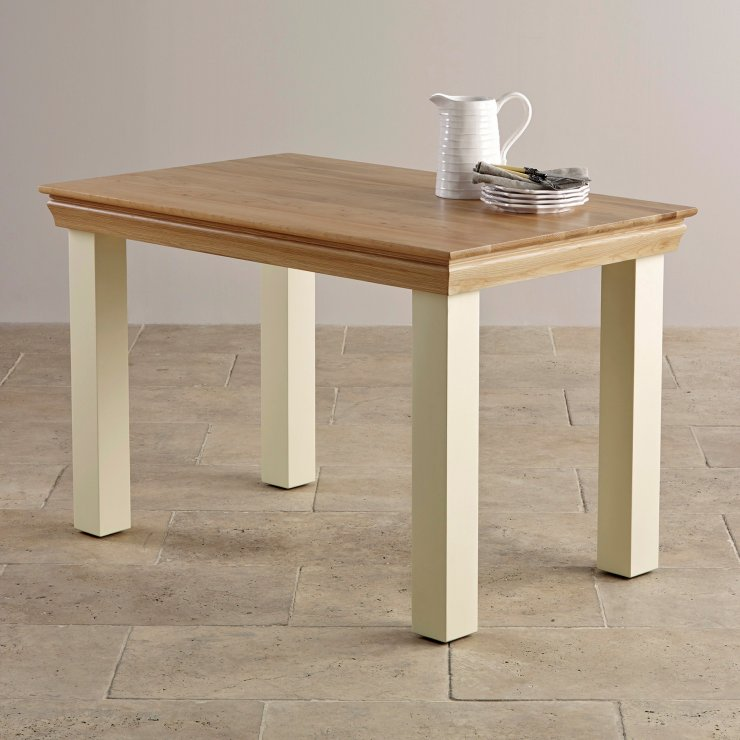 "Country Cottage Natural Oak and Painted 4ft x 2ft 6"" Dining Table"