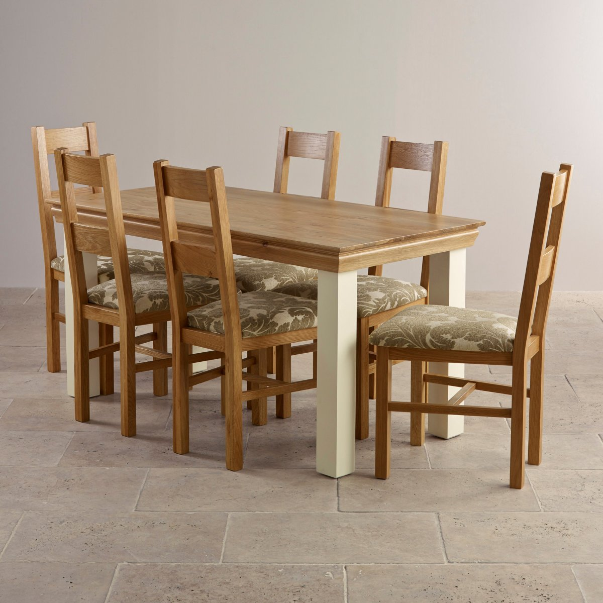 Country cottage dining set in painted oak table