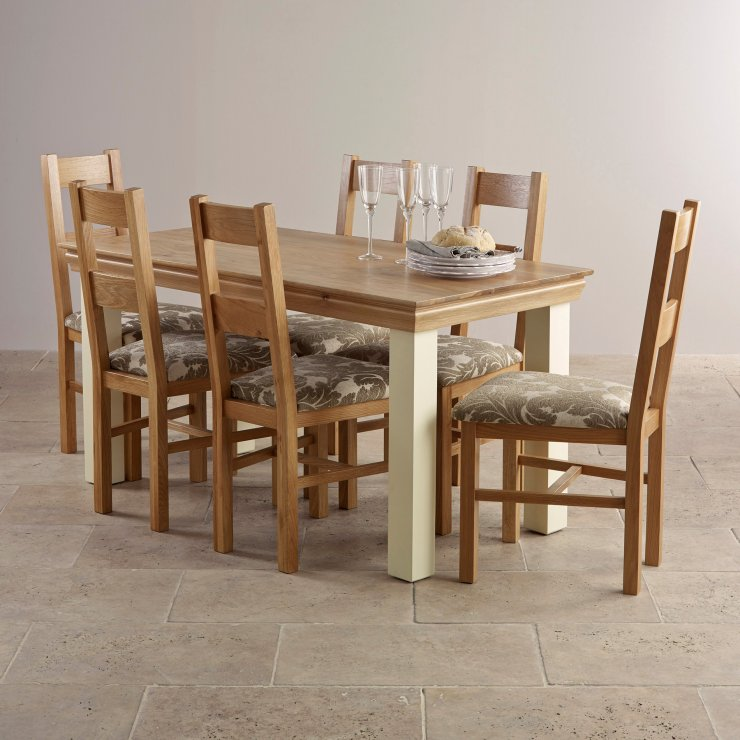 Country Cottage Natural Oak and Painted Dining Set - 5ft Table with 6 Farmhouse and Beige Patterned Fabric Chairs