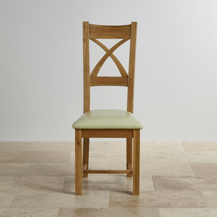 Cross Back Natural Solid Oak Dining Chair with Cream Leather Chair Pad