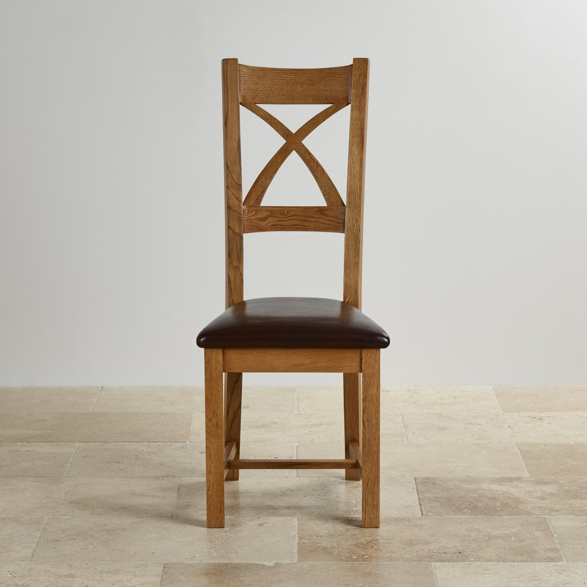 Cross Back Dining Chair in Rustic Oak Brown Leather : cross back rustic solid oak dining chair with brown leather chair pad 58ebb16d05f56ce3371dcfa6fa1a70db9cdd4d61004fc from www.oakfurnitureland.co.uk size 1200 x 1200 jpeg 142kB