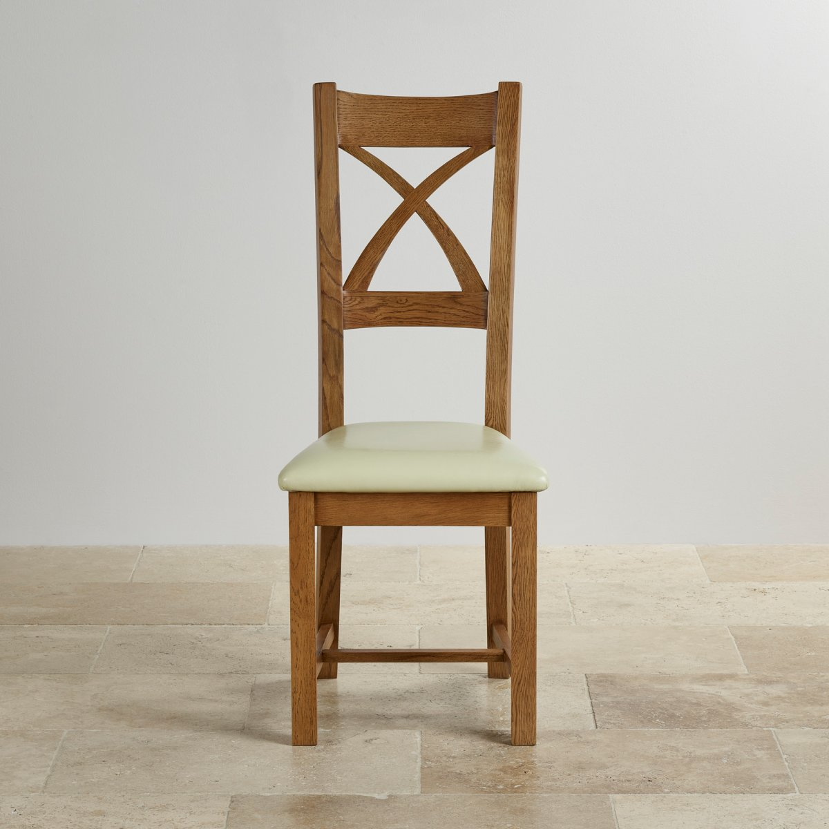 Cross Back Dining Chair In Rustic Oak Cream Leather