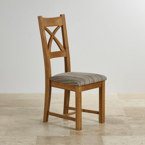 The galway range natural solid oak furniture for Multi coloured fabric dining chairs