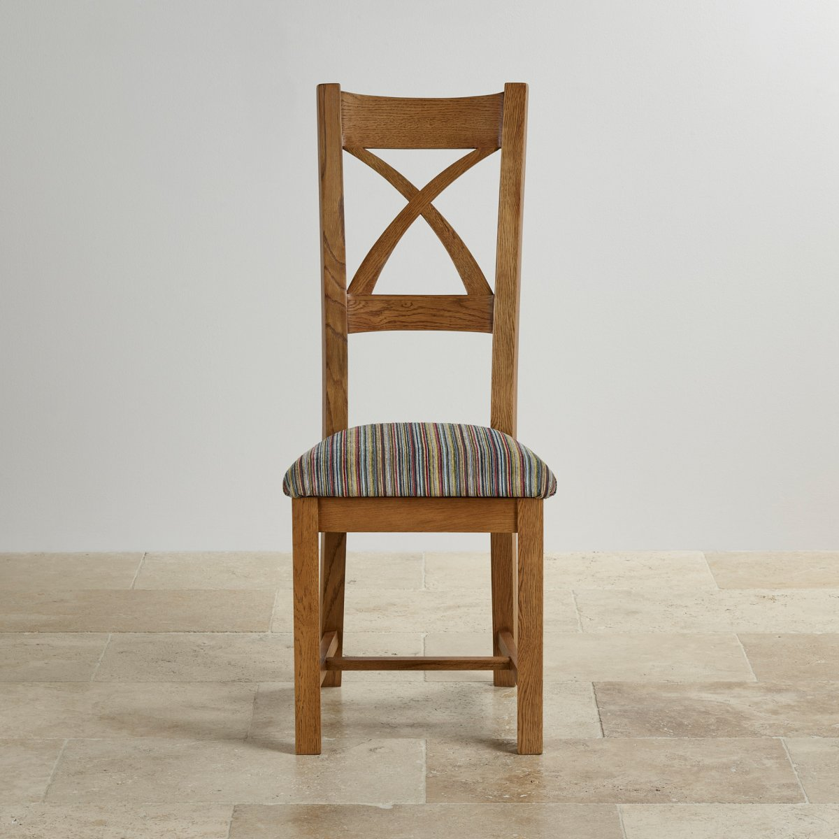 Cross back dining chair in rustic oak multi coloured fabric