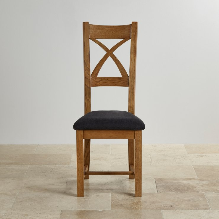 Cross Back Rustic Solid Oak Dining Chair with Plain Black Fabric Chair Pad
