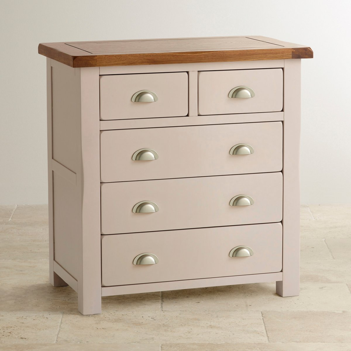 daisy painted chest of drawers in rustic oak oak furniture land. Black Bedroom Furniture Sets. Home Design Ideas