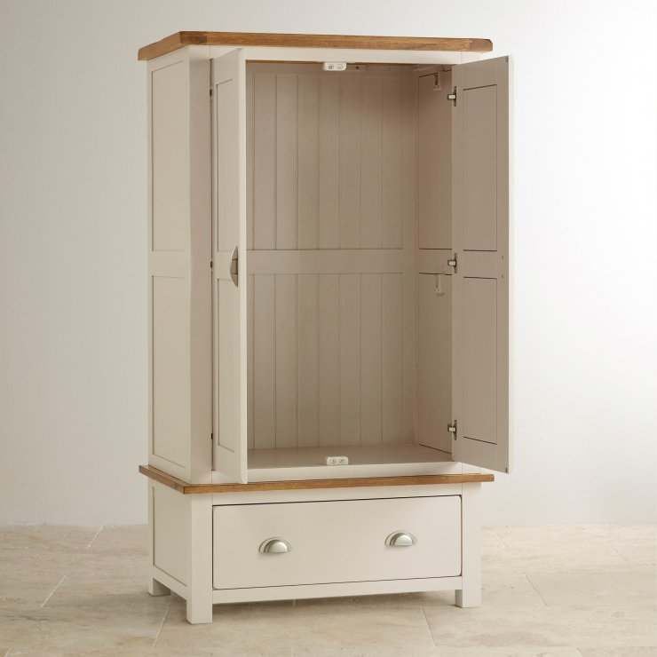 Daisy Rustic Solid Oak and Painted Nursery Wardrobe