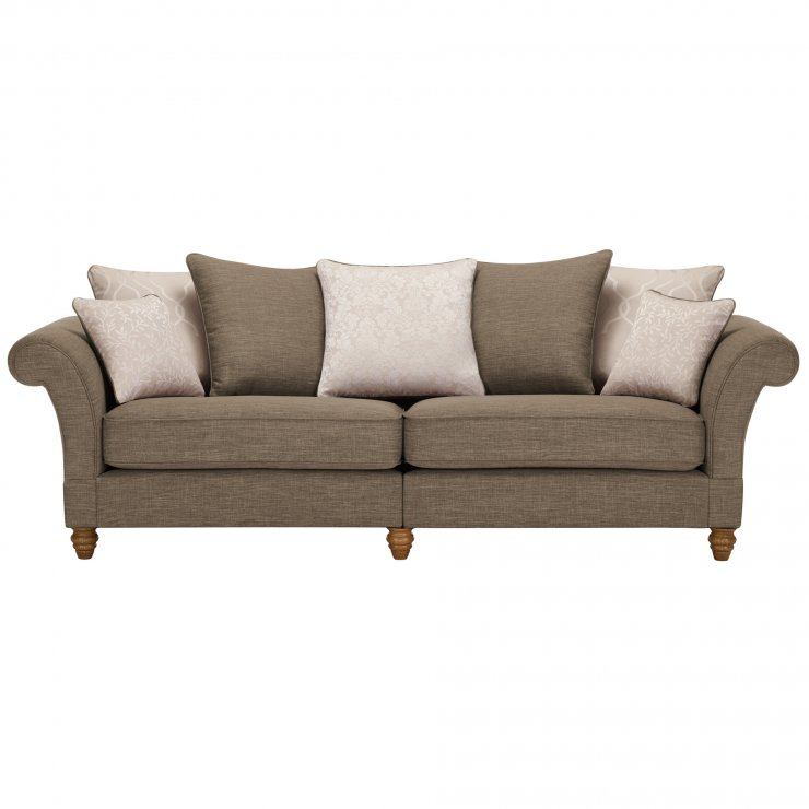 Dorchester 4 Seater Pillow Back Sofa in Civic Pebble with Oyster Scatters