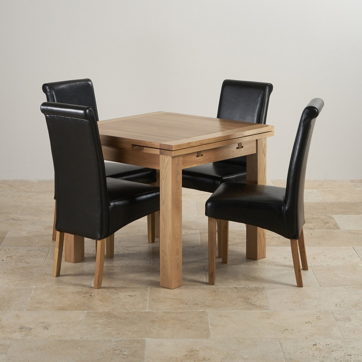 Dorset Dining Set in Oak Extending Dining Table 4  : dorset 3ft x 3ft solid oak extending dining set 4 black leather chairs 573343c05c79da6eff912460691906ba241d9dd23cfe9 from www.oakfurnitureland.co.uk size 1200 x 1200 jpeg 136kB