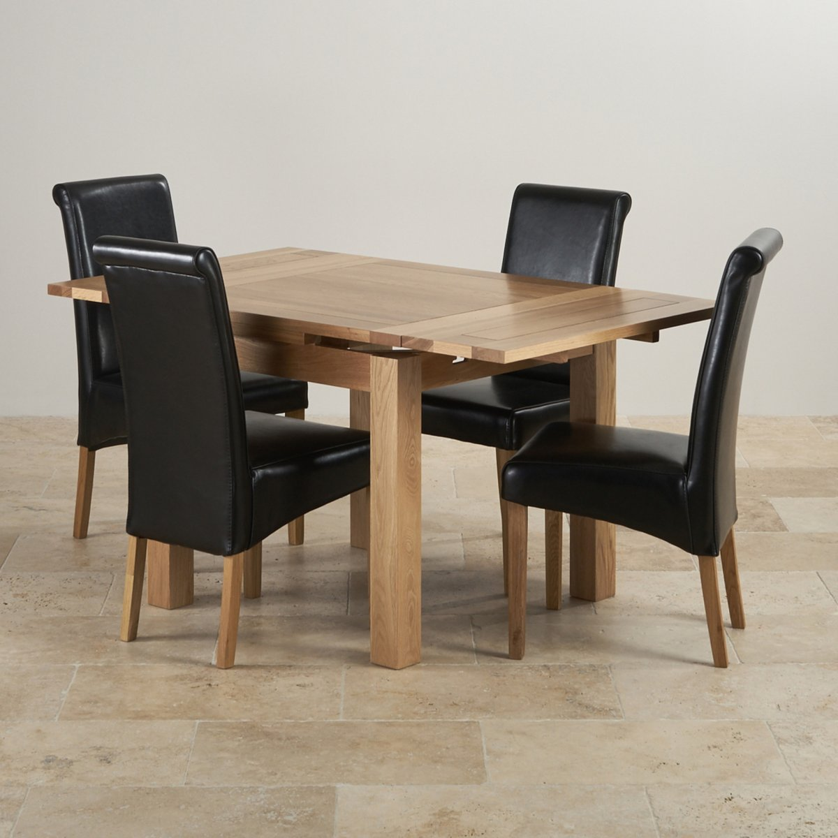 Dorset Dining Set In Oak Extending Dining Table 4 Leather Chairs