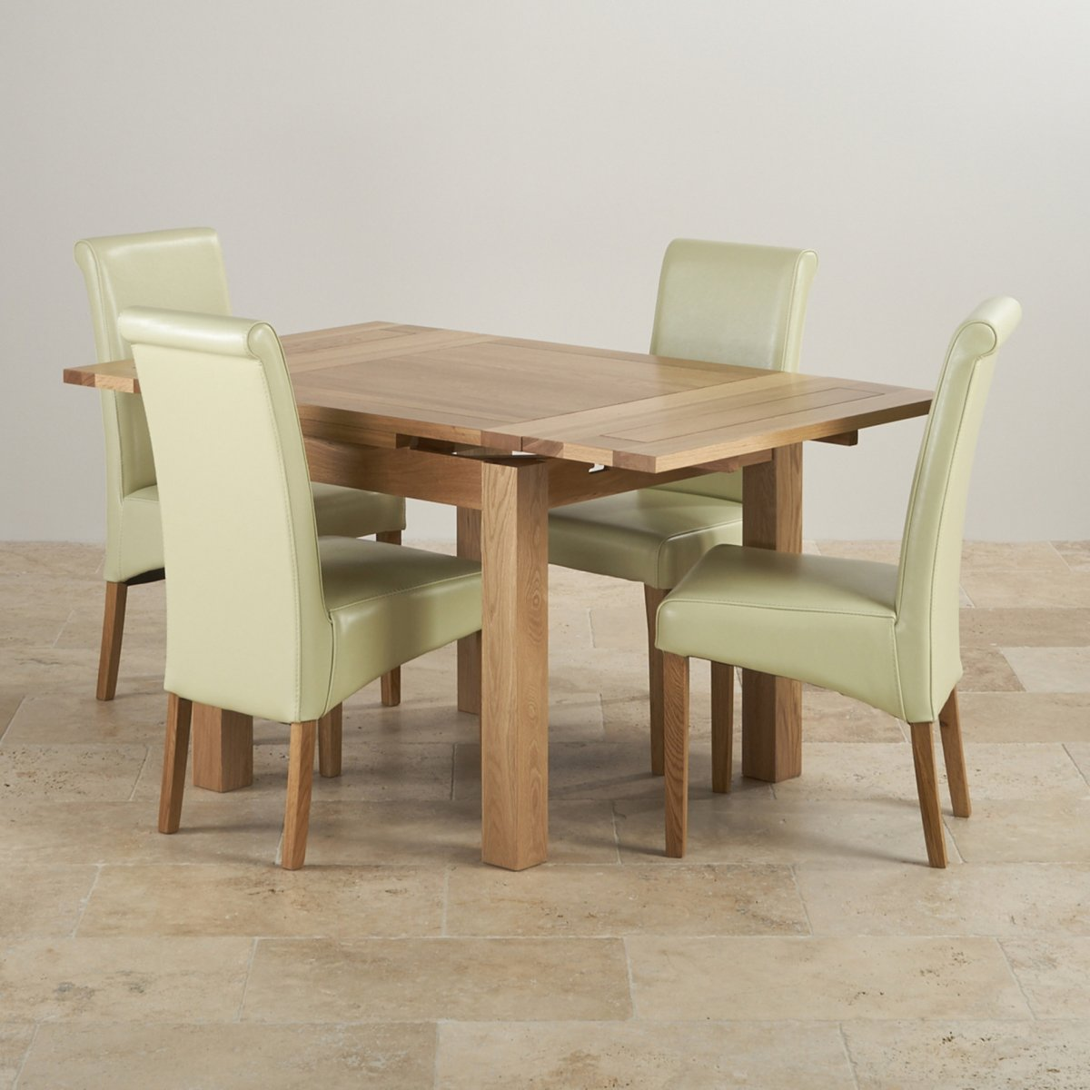 Dorset Oak 3ft Dining Table With 4 Cream Chairs