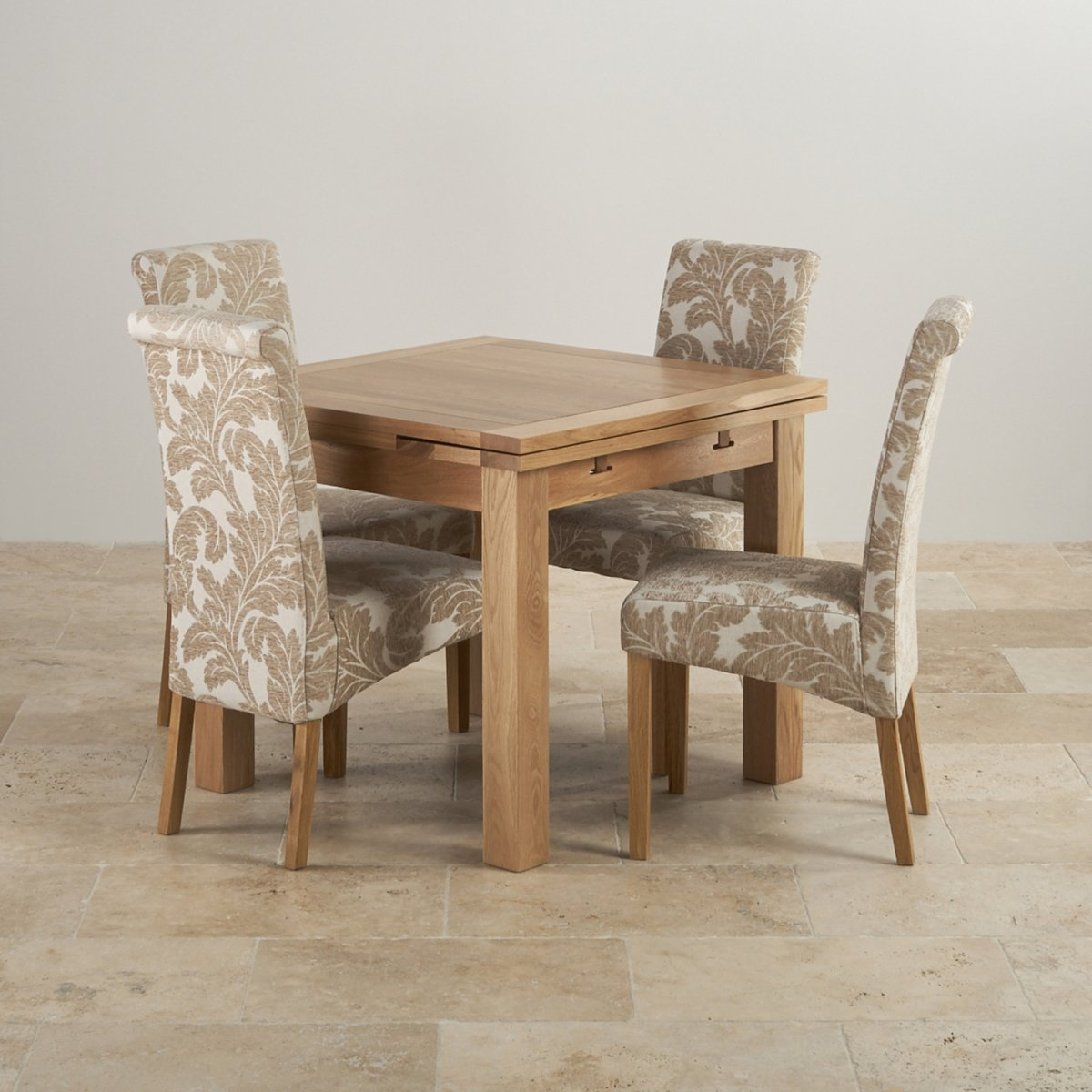 Dorset oak dining set 3ft table with 4 beige chairs for Oak dining room chairs