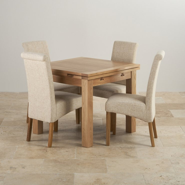 Dorset Natural Real Oak Dining Set - 3ft Extending Table + 4 Scroll Back Plain Beige Fabric Chairs