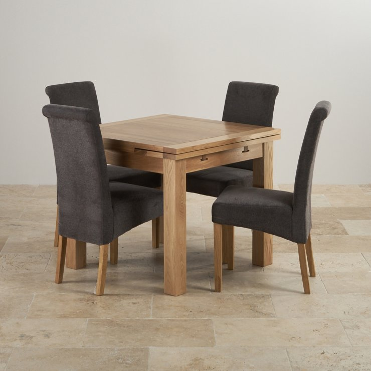 Dorset Natural Real Oak 3ft Extending Table with 4 Scroll Back Plain Charcoal Fabric Chairs