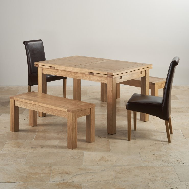 "Dorset Natural Oak Dining Set - 4ft 7"" Extending Table with 2 x 3ft 7"" Benches and 2 x Scroll Back Brown Leather Chairs"