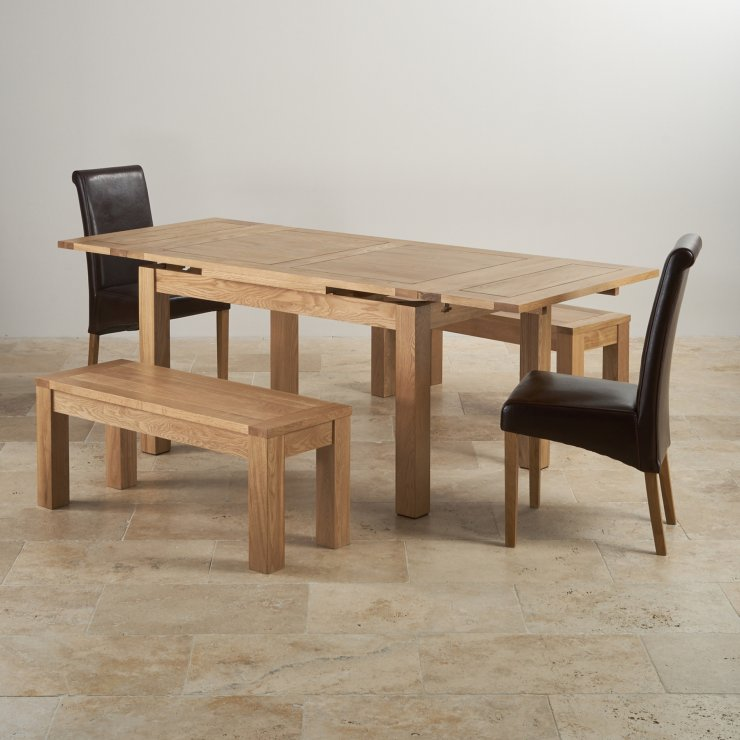 Dorset Oak 4ft 7 Dining Table With 6 Brown Chairs: Dorset Extending Dining Set In Oak