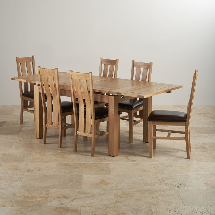 Dorset Extending Dining Set In Oak Table 6 Brown Leather Chairs