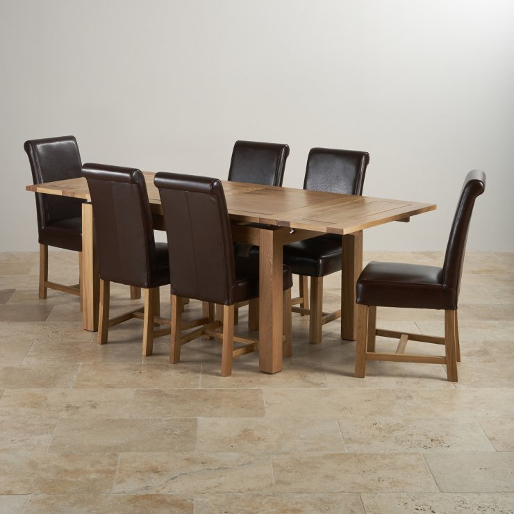 "Dorset Natural Real Oak - 4ft 7"" Extending Table with 6 Braced Scroll Back Brown Leather Chairs"