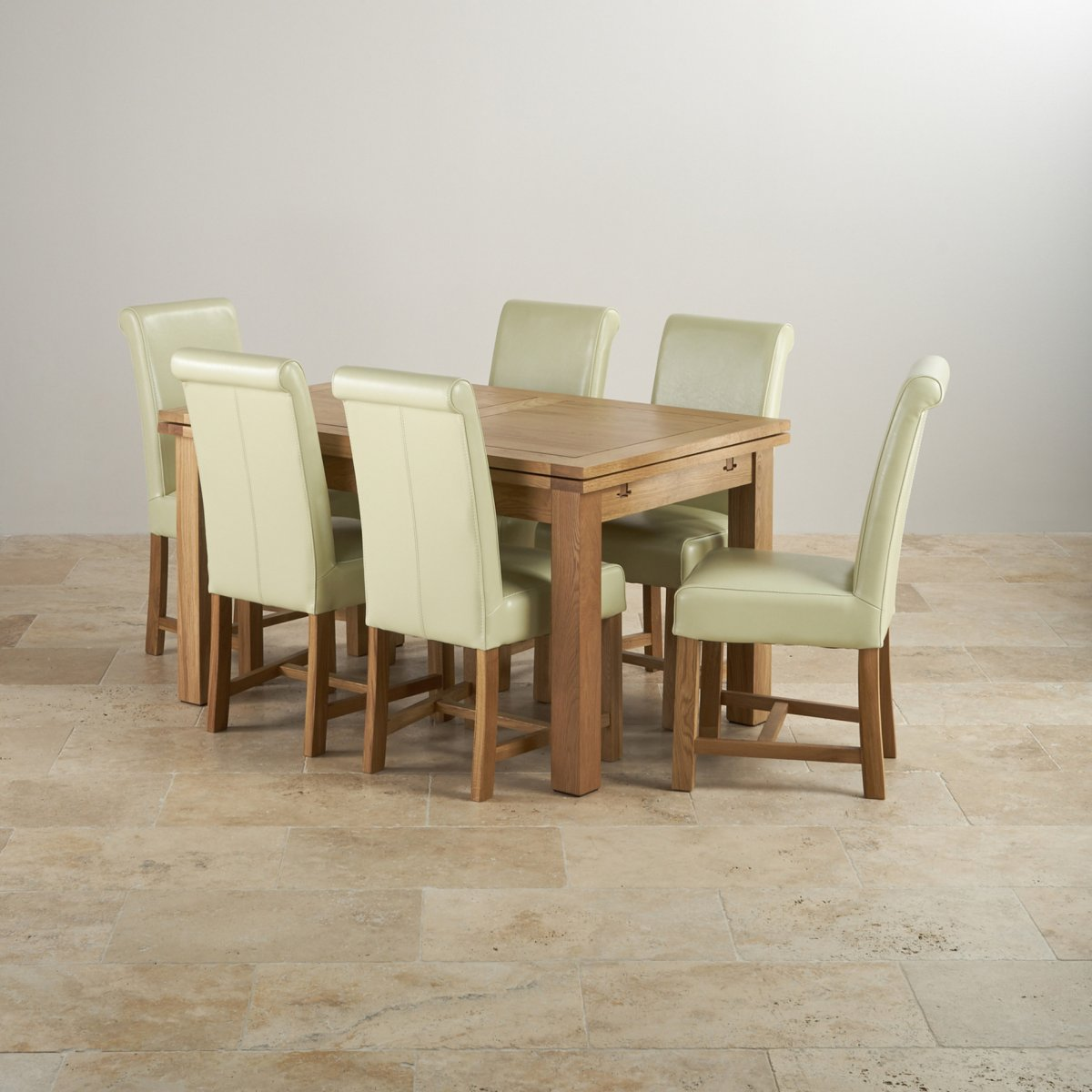 Dorset 4ft 7quot Extending Table 6 Cream Leather Chairs : dorset natural solid oak dining set 4ft 7 extending table with 6 braced scroll back cream leather chairs 56f52b8b9ae437f1878646350552054483287bc8fa156 from oakfurnitureland.co.uk size 1200 x 1200 jpeg 142kB