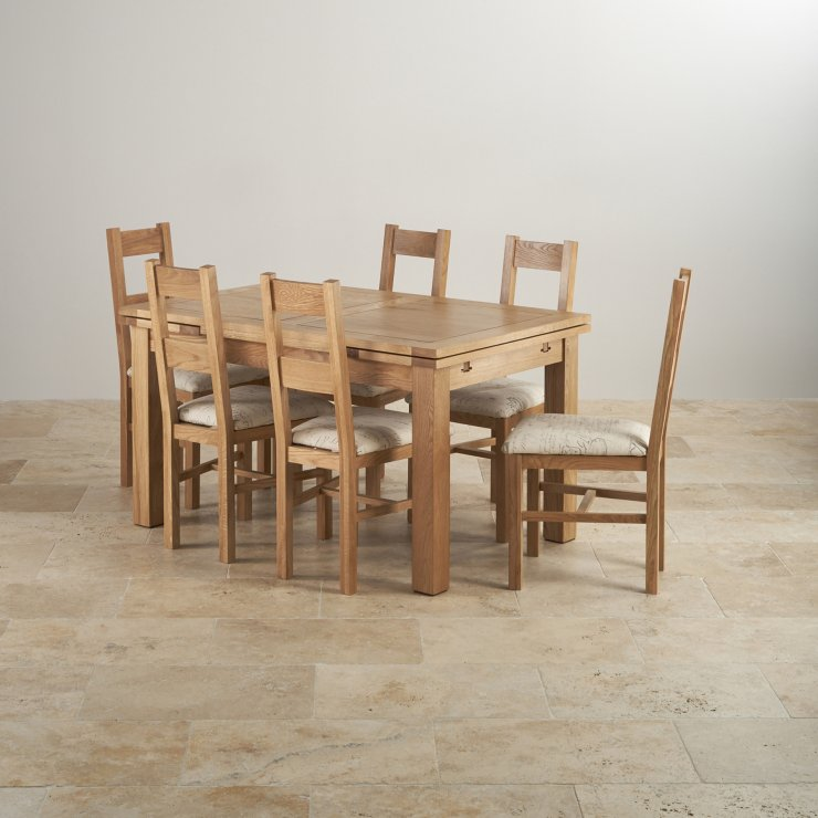 Dorset Natural Real Oak Dining Set - 4ft 7 Extending Table with 6 Farmhouse and Script Beige Chairs