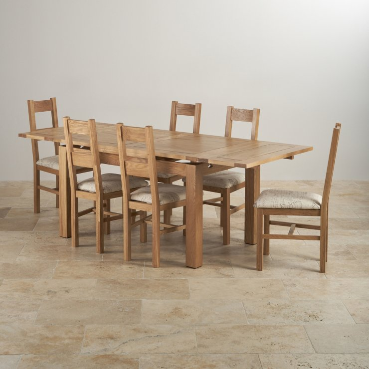 Dorset oak 4ft 7 dining table with 6 script beige chairs for Oak farmhouse kitchen table and chairs