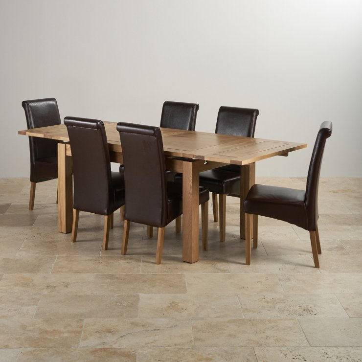 "Dorset Natural Real Oak Dining Set - 4ft 7"" Extending Table with 6 Scroll Back Brown Leather Chairs"