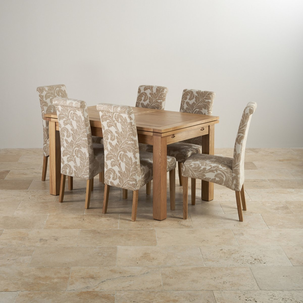 Dorset Natural Solid Oak 4ft 7 Extending Table With 6 Scroll Back Patterned Beige Fabric Chairs