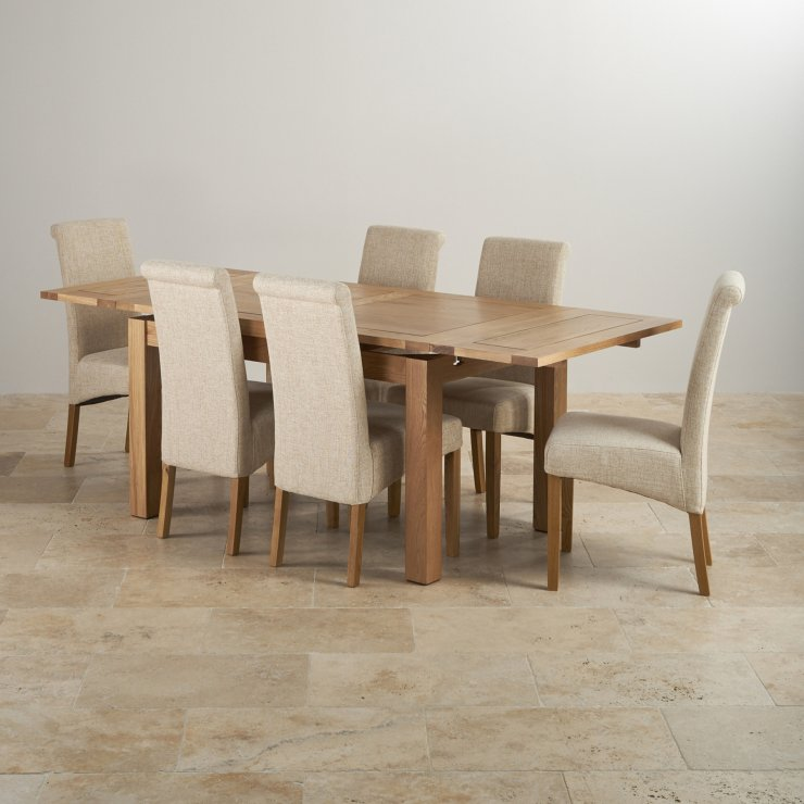 "Dorset Natural Real Oak 4ft 7"" Extending Table with 6 Scroll Back Plain Beige Fabric Chairs"