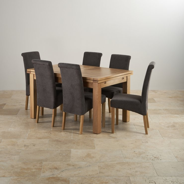 "Dorset Natural Real Oak 4ft 7"" Extending Table with 6 Scroll Back Plain Charcoal Fabric Chairs"