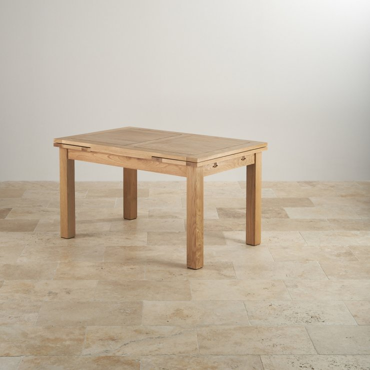 "Dorset Natural Real Oak 4ft 7"" Extending Table with 6 Scroll Back Plain Grey Fabric Chairs"