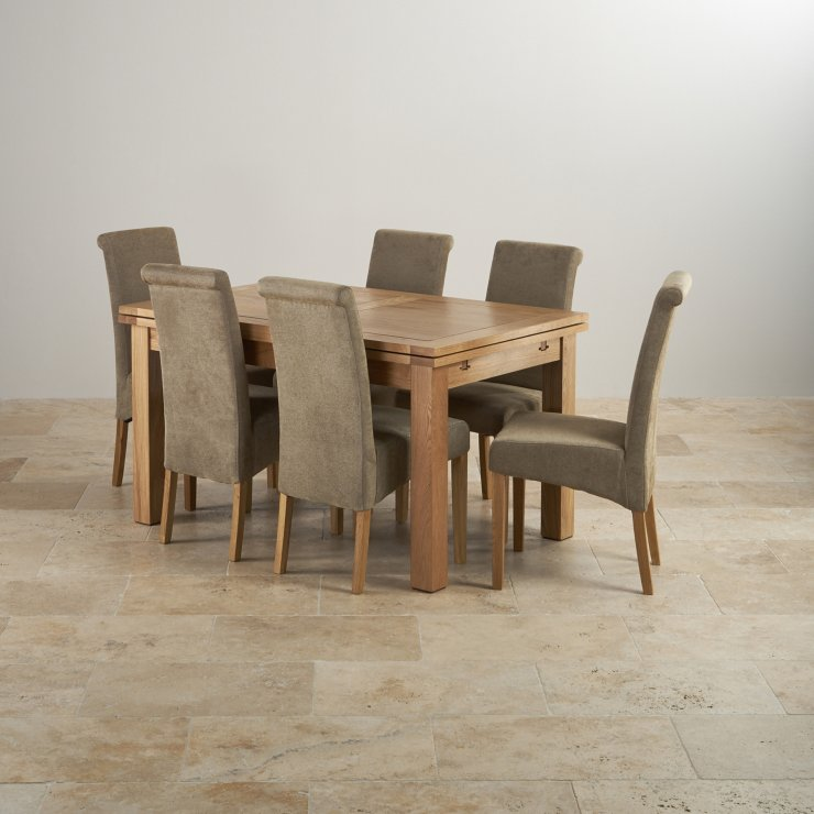 "Dorset Dining Set Extending Table In Oak 6 Leather Chairs: Dorset Oak 4ft 7"" Dining Table With 6 Sage Chairs"
