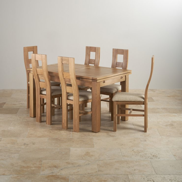 Dorset Natural Real Oak Dining Set - 4ft 7 Extending Table with 6 Wave Back and Beige Fabric Chairs