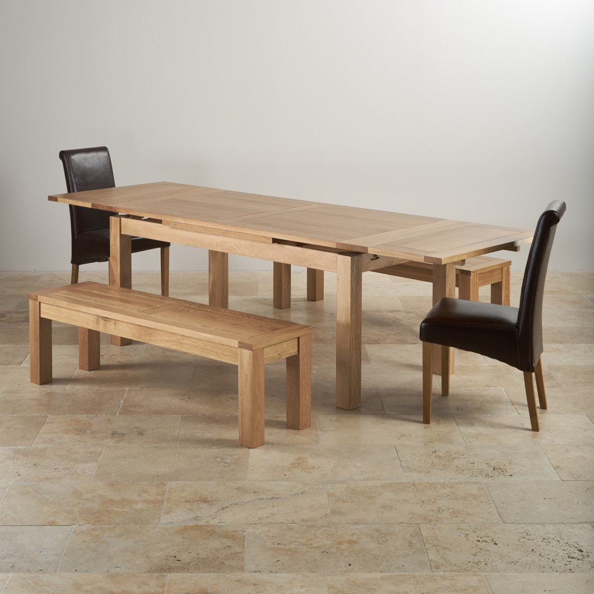 Dorset Dining Set Extending Table In Oak 6 Leather Chairs: Dorset Dining Set In Oak: Dining Table + 2 Benches & 2 Chairs