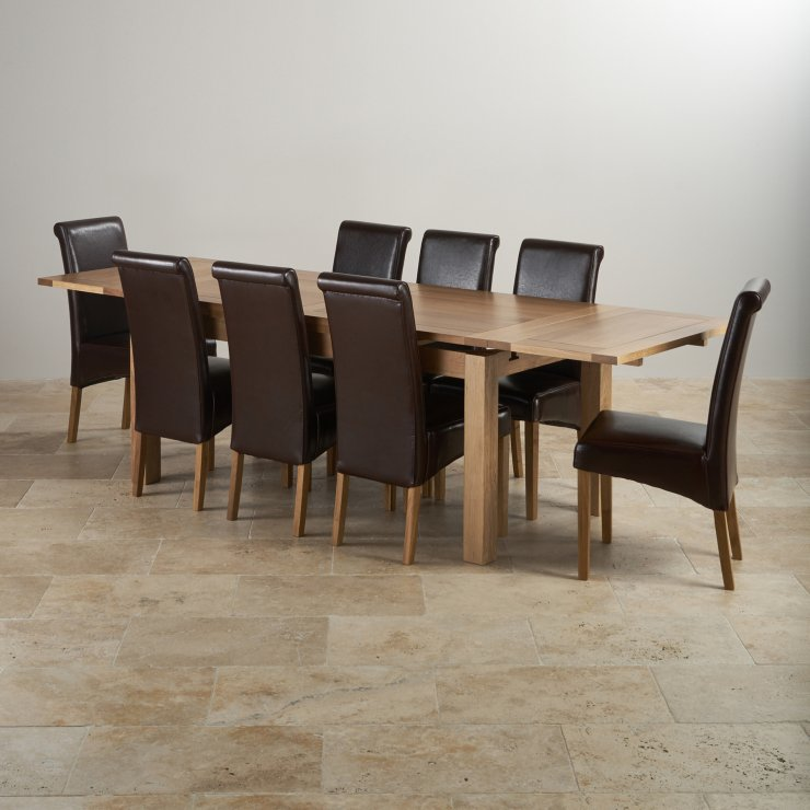 Dorset Natural Real Oak Dining Set - 6ft Extending Table with 8 Scroll Back Brown Leather Chairs