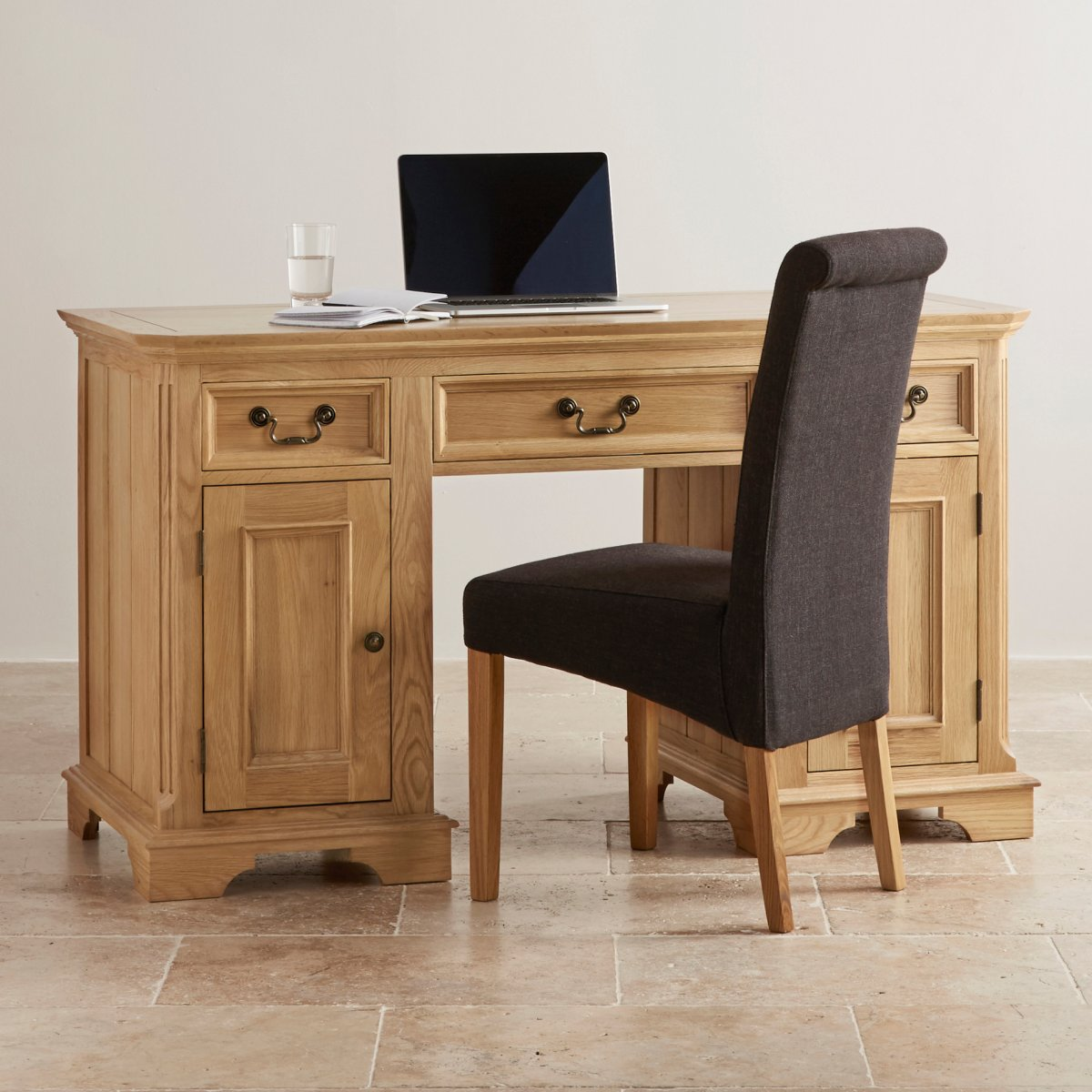 Edinburgh Natural Solid Oak Computer Desk By Oak Furniture