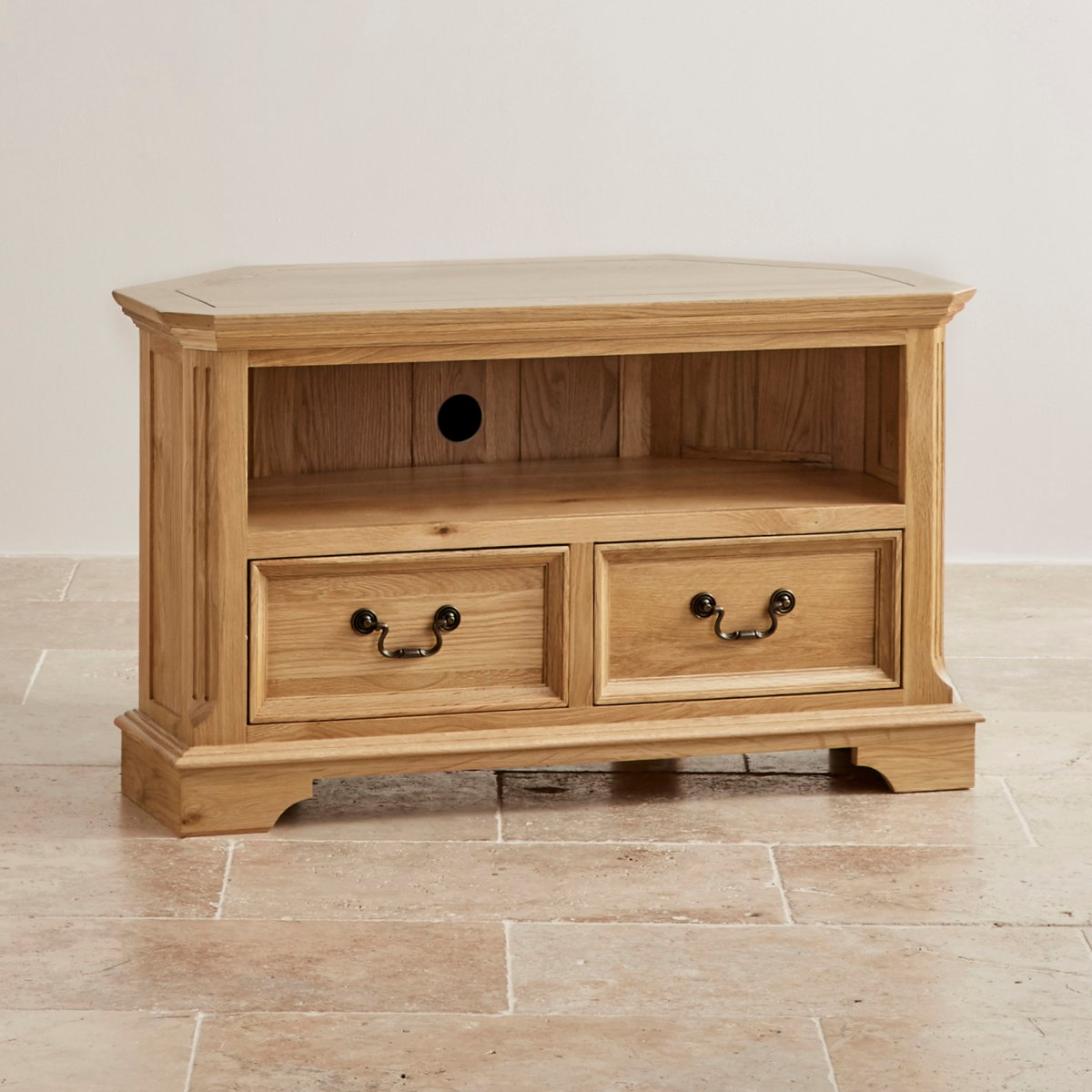 Edinburgh corner tv cabinet in solid oak oak furniture land for Solid oak furniture