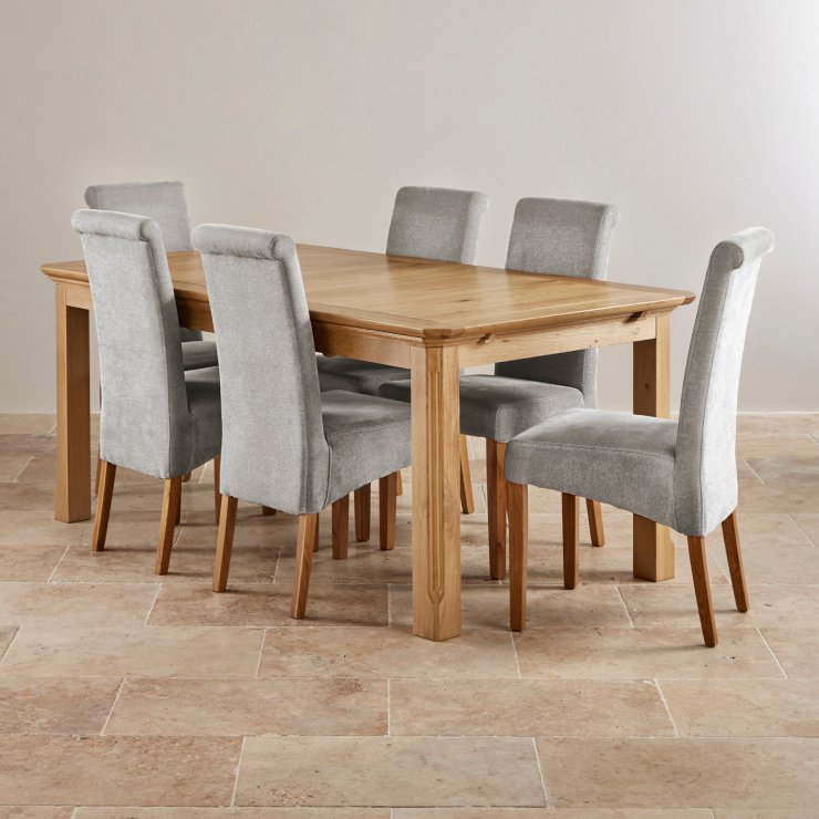 Edinburgh extending dining set in oak dining table 6 chairs - Extended dining table sets ...