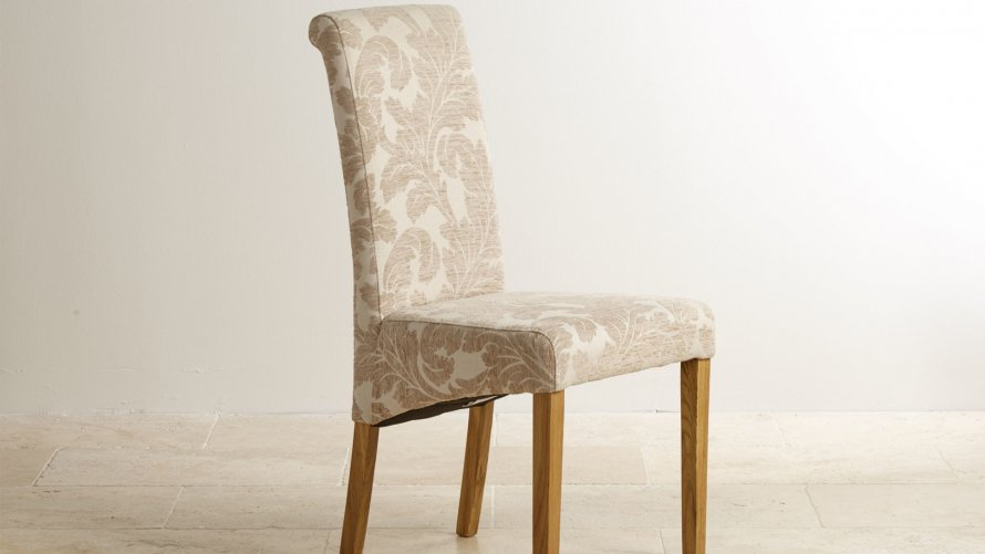 Fabric dining chairs oak furniture land for Fabric dining room chairs