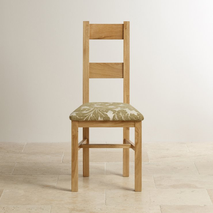 Farmhouse Natural Solid Oak and Patterned Sage Fabric Dining Chair