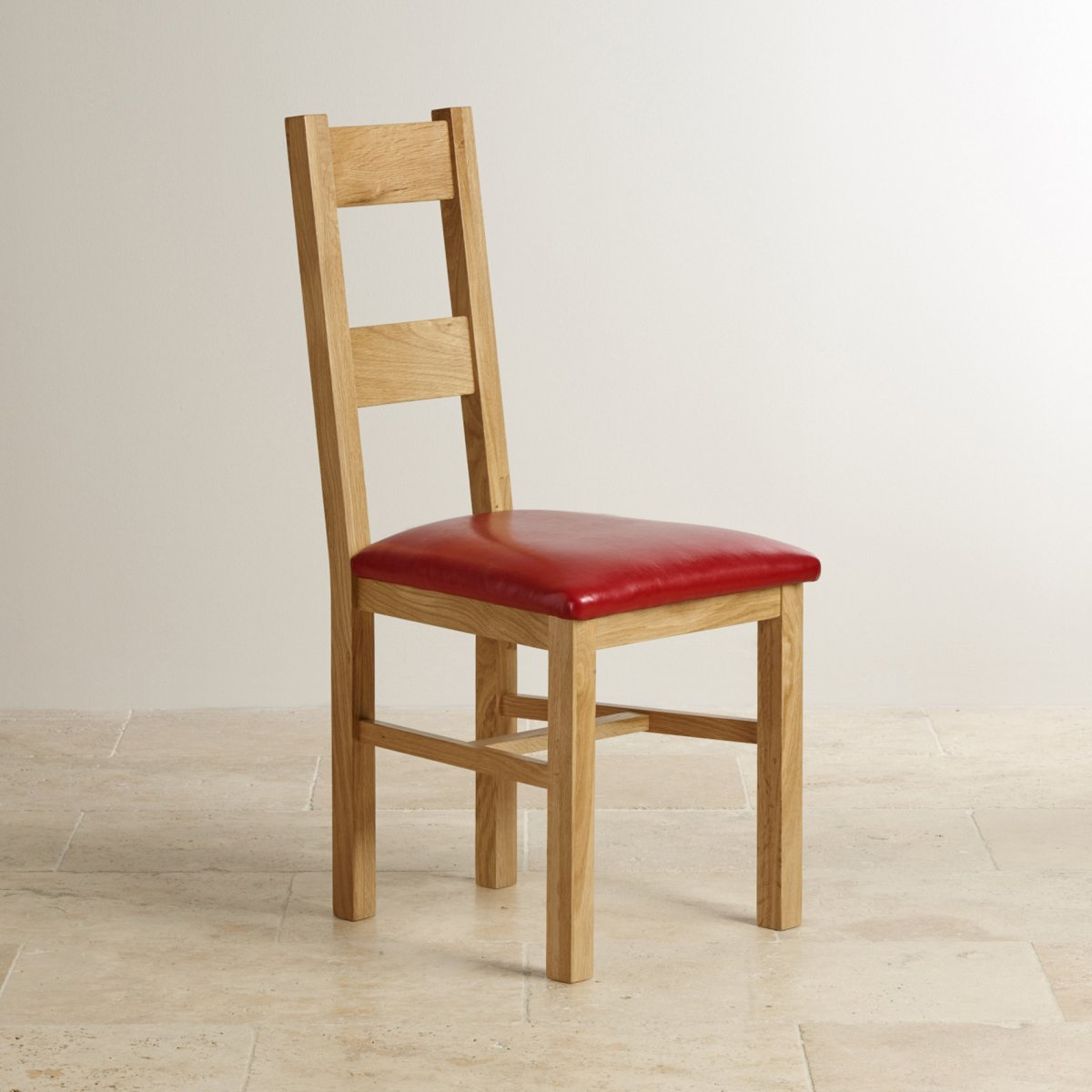 Farmhouse Natural Solid Oak Dining Chair Red Leather