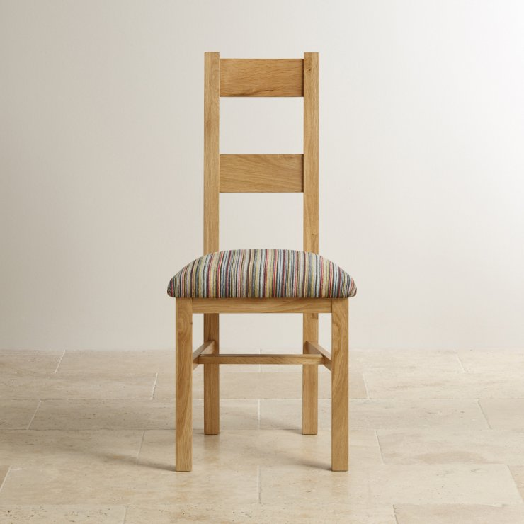 Farmhouse Natural Solid Oak and Striped Multi-coloured Fabric Chair