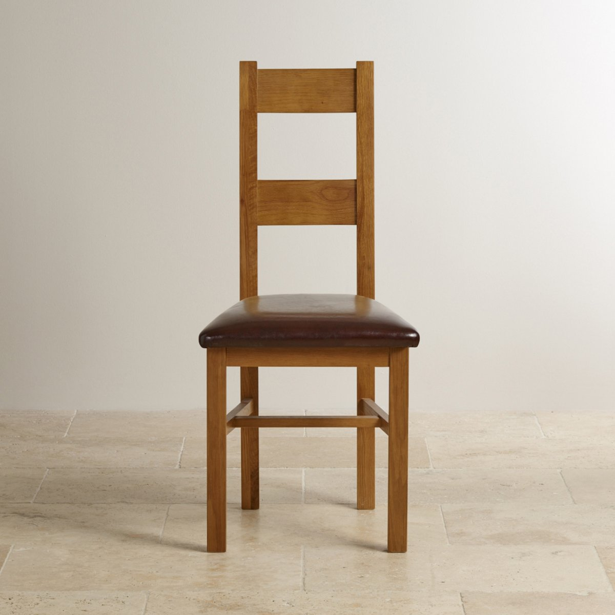 Farmhouse Dining Chair - Brown Leather