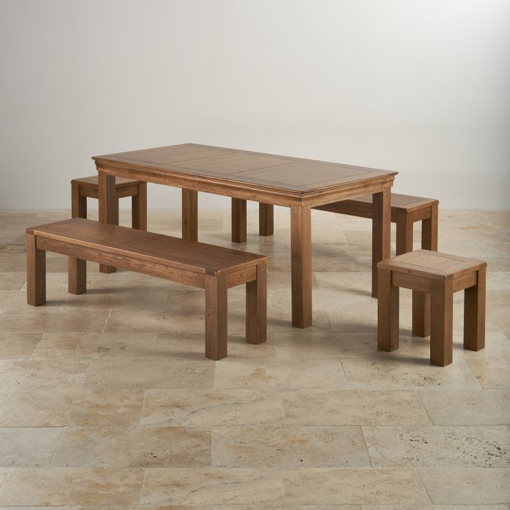 "French Farmhouse Rustic Oak Dining Set - 6ft Table with 2 x 4ft 11"" Benches and 2 x Square Stools"