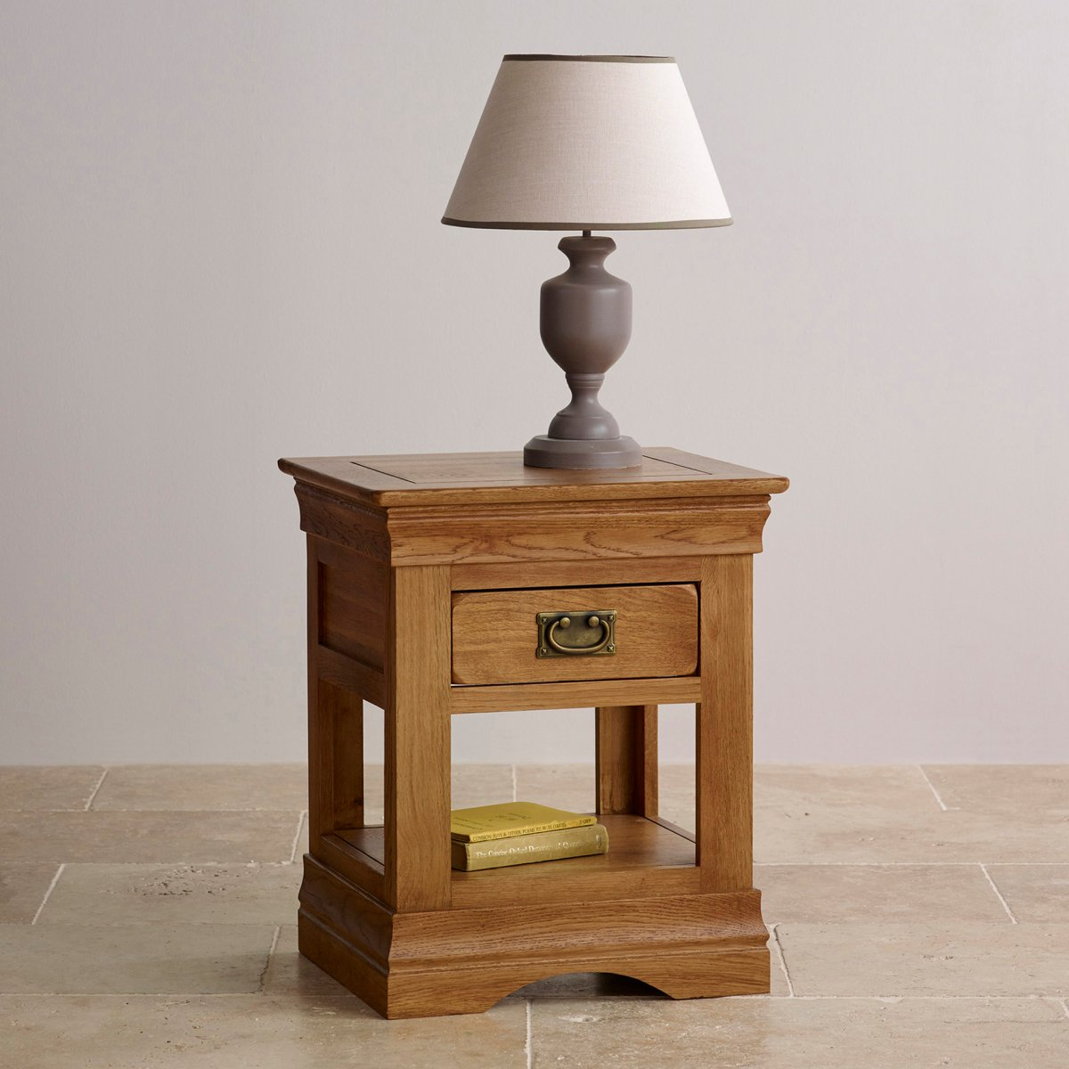 French Farmhouse Bedside Table in Rustic Solid Oak