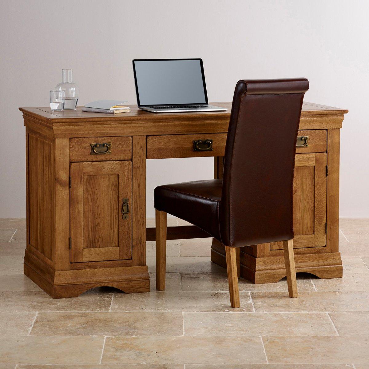 French farmhouse computer desk solid oak oak furniture for Furniture land